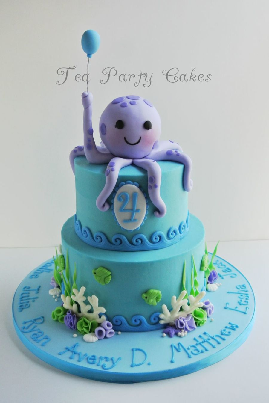 Birthday Cake That I Made For My Friends Baby Group That Was Celebrating Their 4Th Birthdays 6 And 8 Inch Buttercream Cakes With Fondant D... on Cake Central