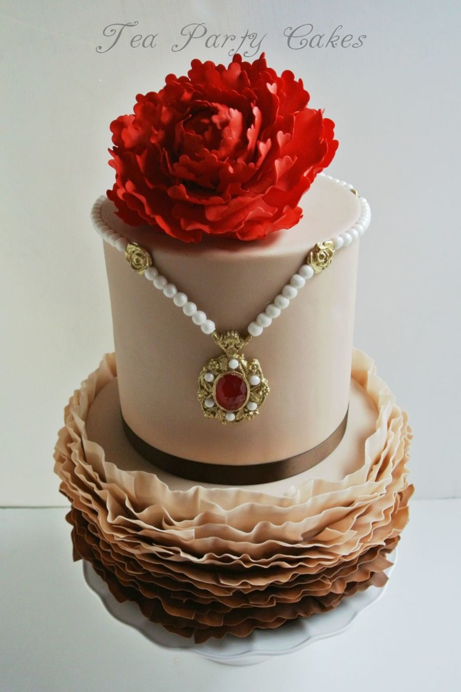 I Made This Cake For The Pure Fun Of It I Used Maggie Autsins Fondant Frills Course On Craftsycom To Do The Bottom Tier The Necklace I  on Cake Central