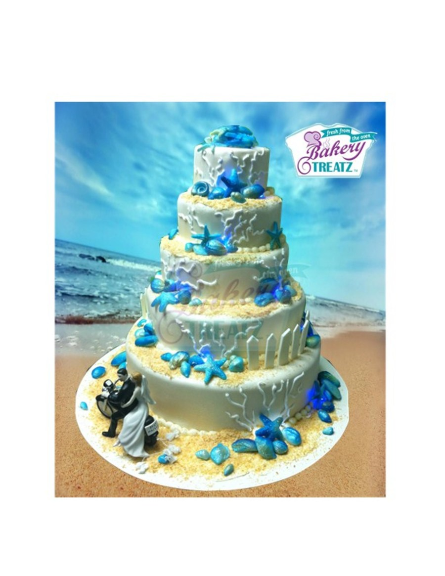 Beach Themed So I Did The Base Cakes In Findant But Then Used Butterceam To Hold The Toatsed Coconut Which Gave A Sand Effect All The She on Cake Central