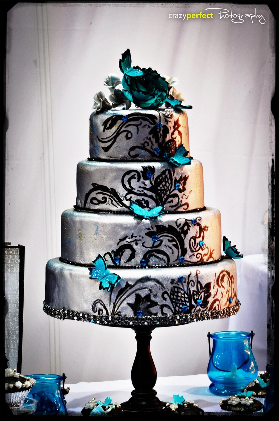 Silver And Teal Butterflies Cakecentral Com