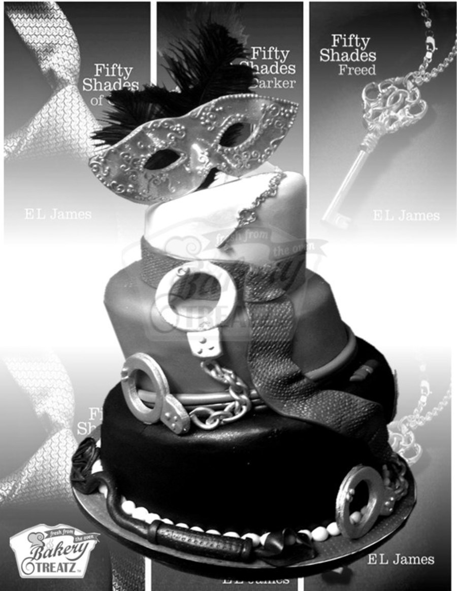 The Theme Was 50 Shades Of Grey And I Used The Poster With The Mask Handcuff And Key As Inspiration To Make Edible Versions on Cake Central