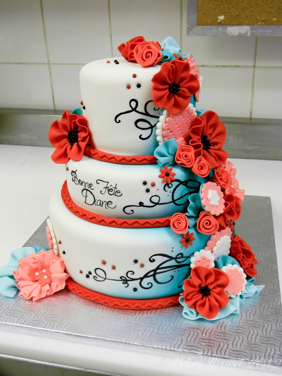 Red And Turquoise Couture Cake Cakecentral Com