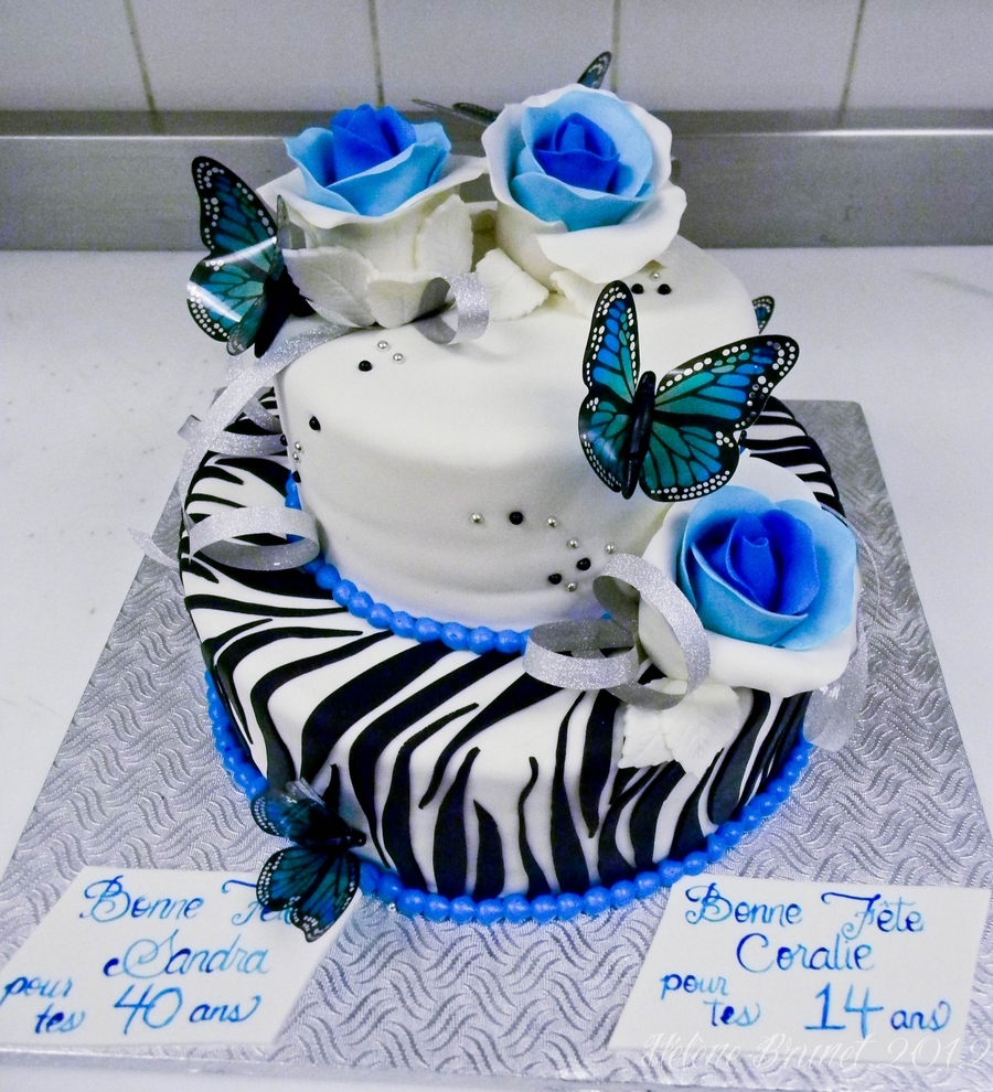 Blue Roses And Zebra Stripes Cake  on Cake Central