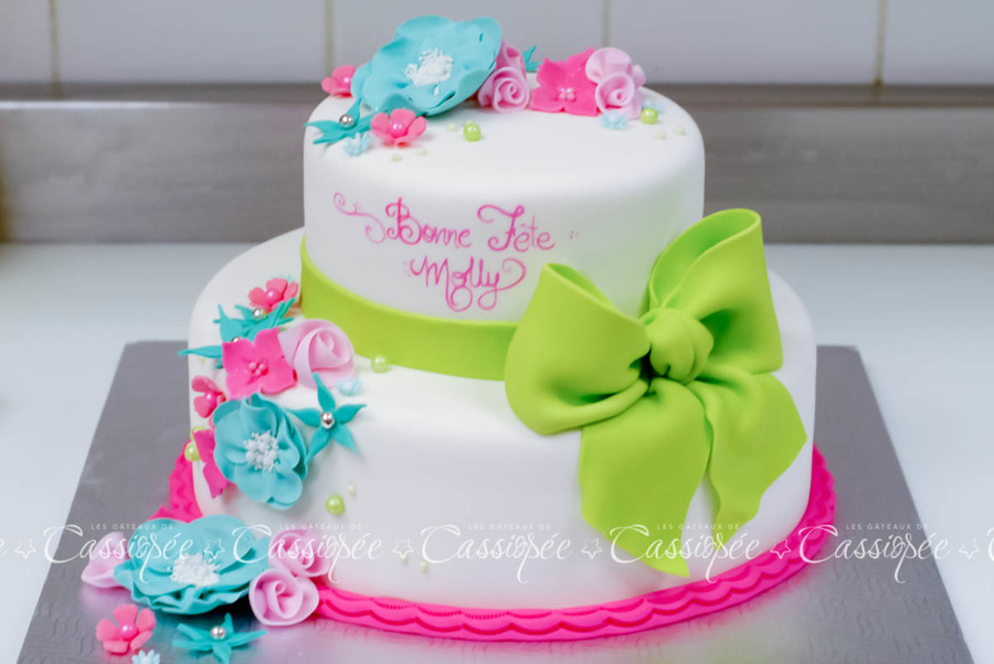 Colorful Birthday Cake For A Little Girl CakeCentralcom