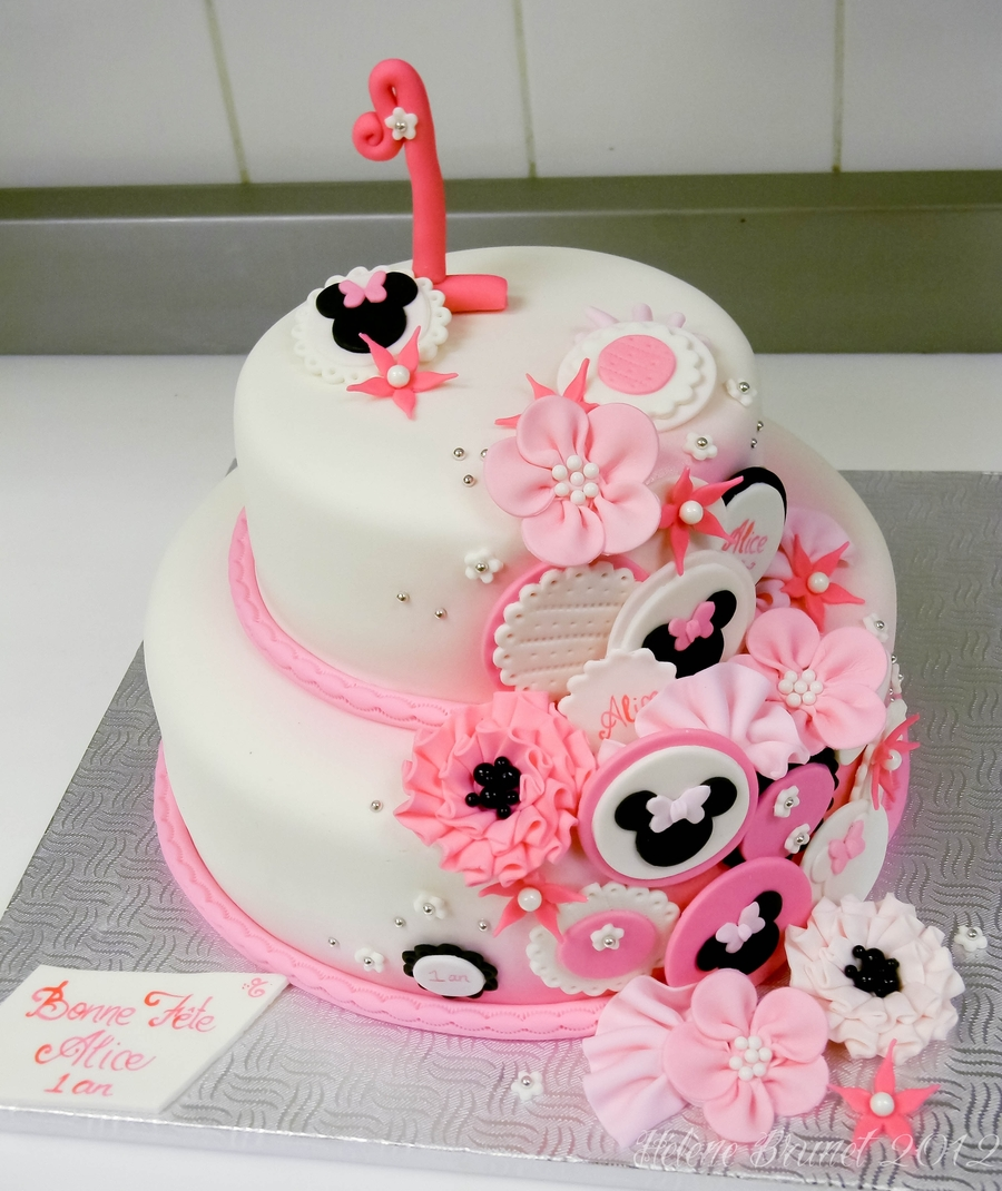 1St Birthday Minnie Mouse Inspired Cake CakeCentralcom
