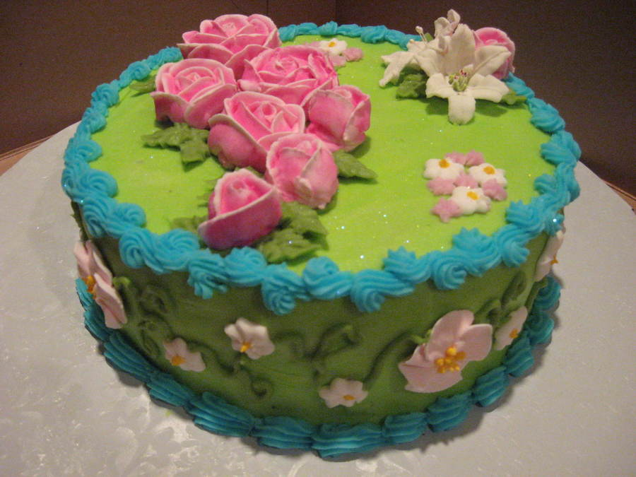 Pink And Green Roses on Cake Central