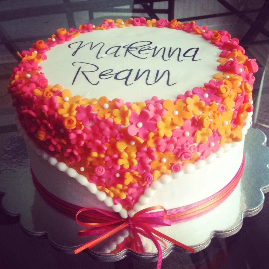 Orange And Pink Flower Baby Shower Cake Cakecentral