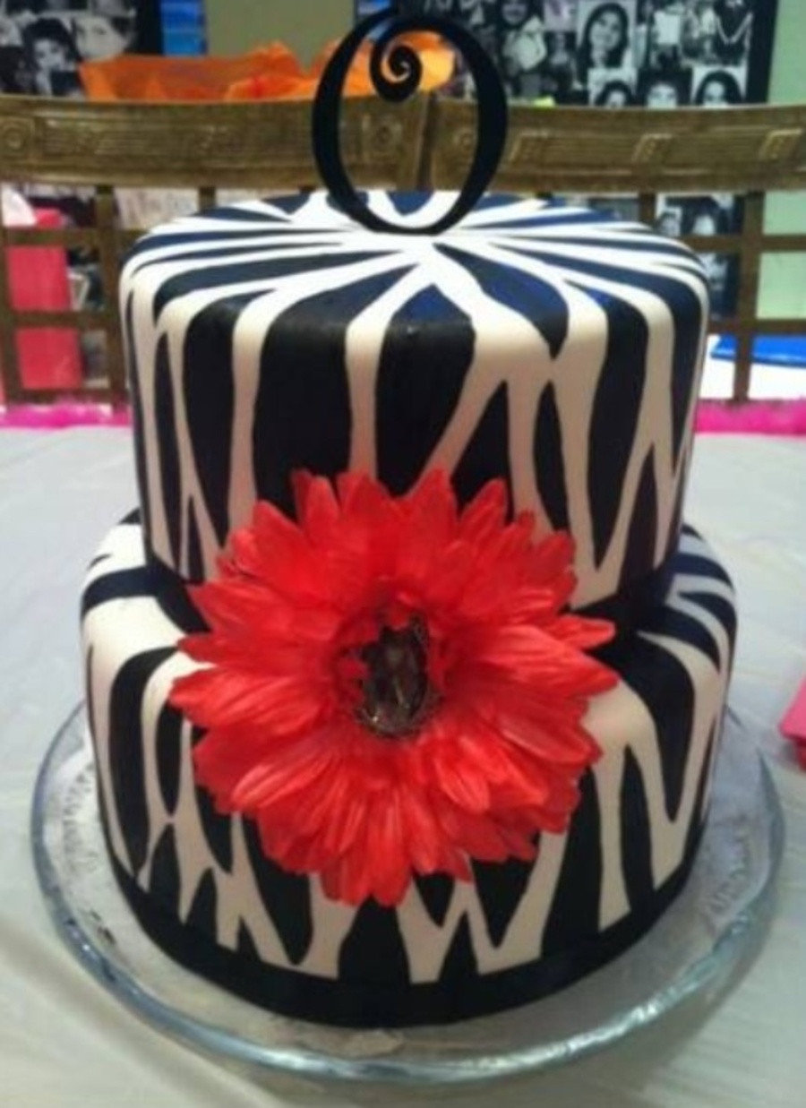Zebra Cake With Pink Gerber Daisy on Cake Central