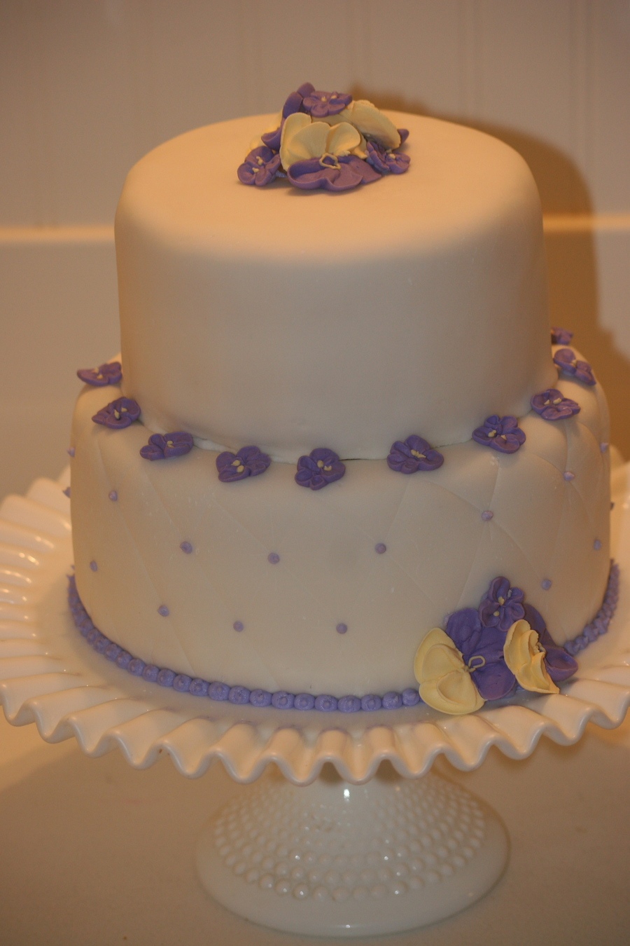White With Purple Pansies Wedding Cake on Cake Central