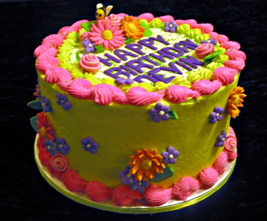 Colorful Flowers Birthday Cake CakeCentralcom