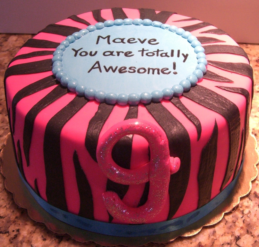 Hot Pink & Blue Zebra Print Birthday Cake on Cake Central