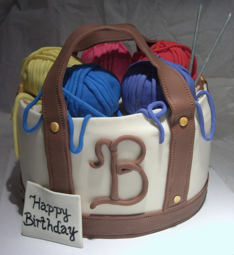Knitting Tote Bag on Cake Central