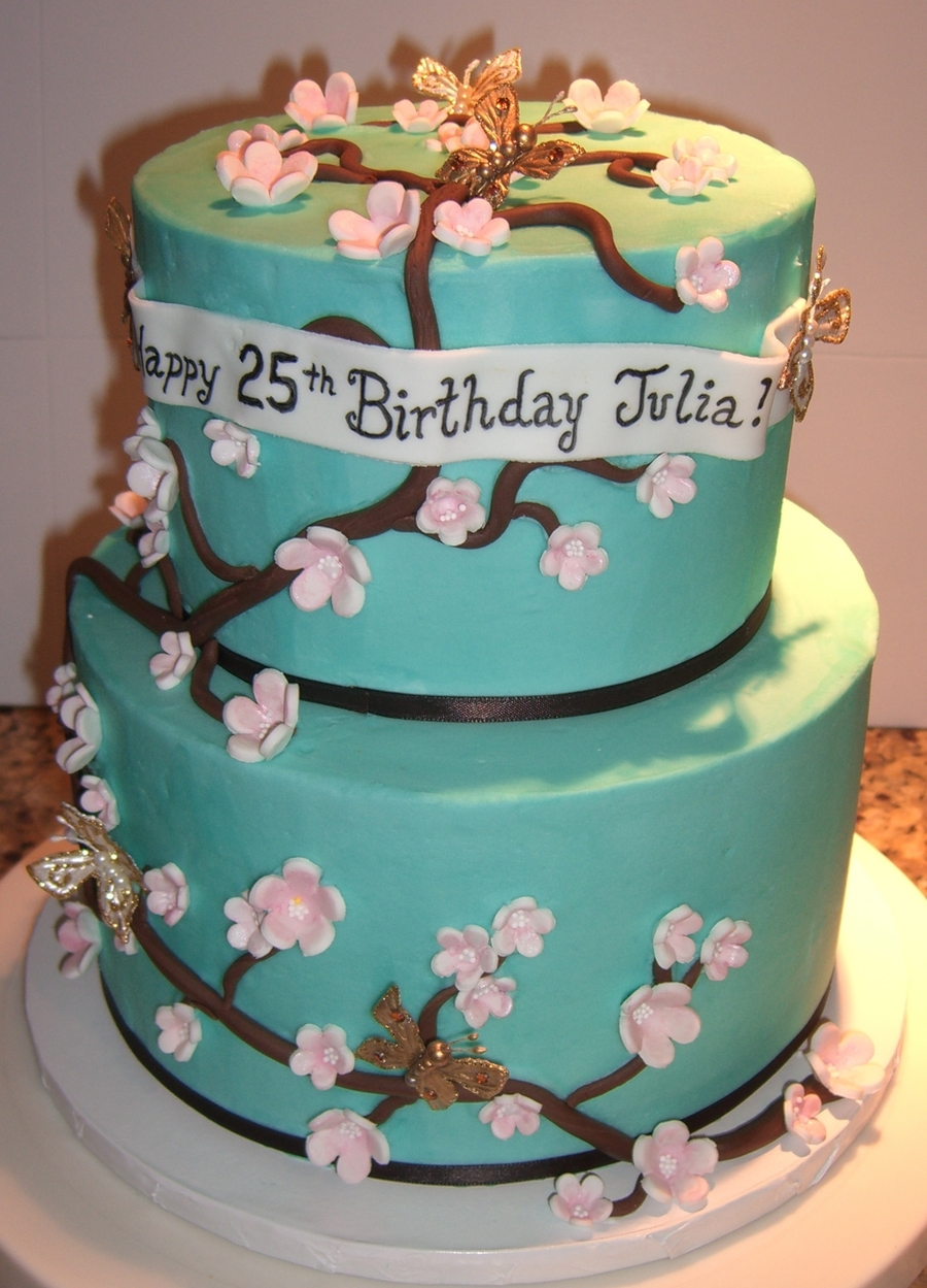 Admirable Tiffany Blue Cherry Blossom Birthday Cake Cakecentral Com Funny Birthday Cards Online Alyptdamsfinfo