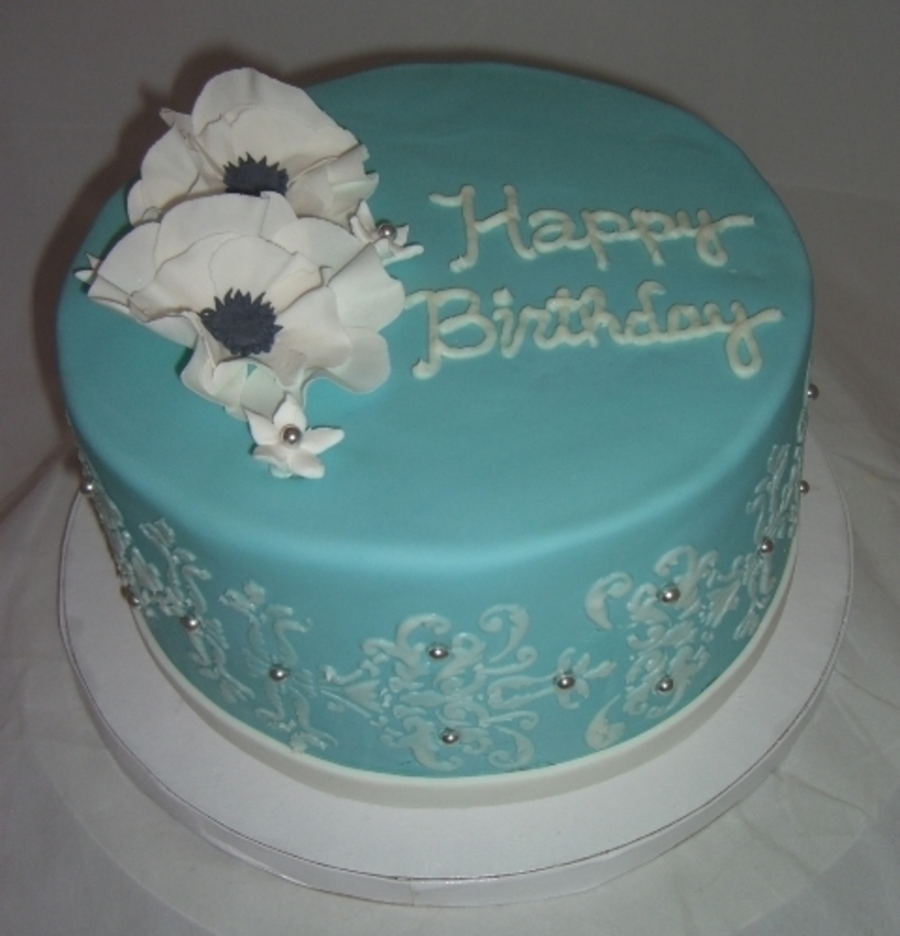 Light Blue Stencil And Gumpaste Flower Birthday Cake CakeCentralcom