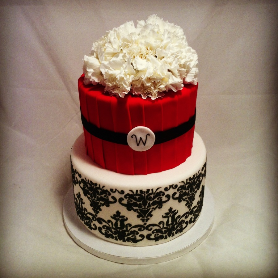 Red Amp White Damask Engagement Cake on Cake Central
