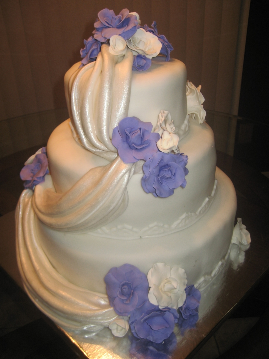 Purple/white Wedding Cake on Cake Central