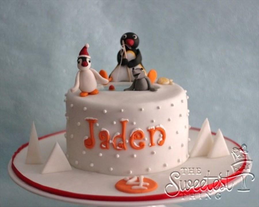 Pingu Birthday Cake For Jaden Celebrating On Christmas Day - CakeCentral.com