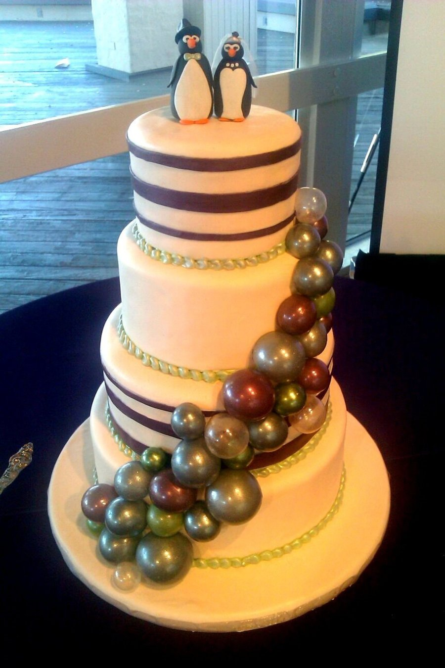 Purple And Green Bubbles Wedding Cake