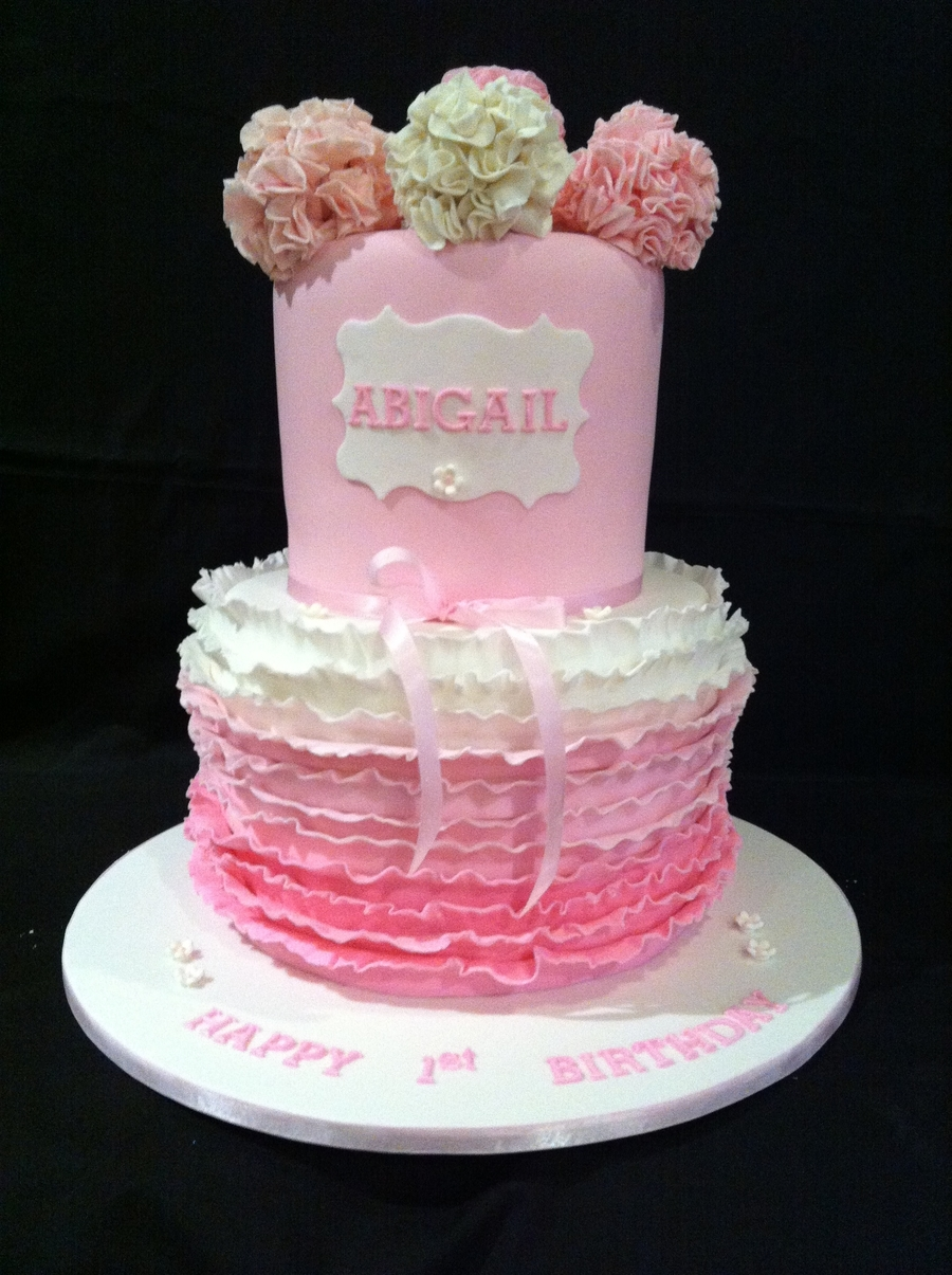 Double Stacked Cake Ruffled With Fantasty Flowers on Cake Central