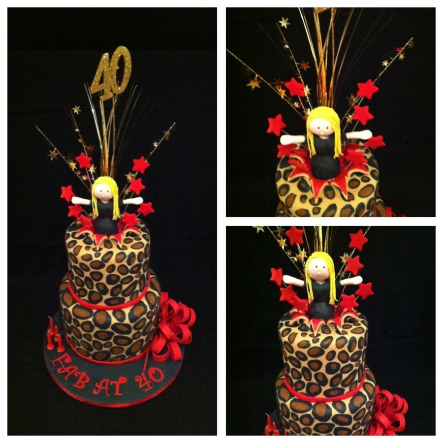 Cheetah Print Cake With A Girl Jumping Out If It  on Cake Central