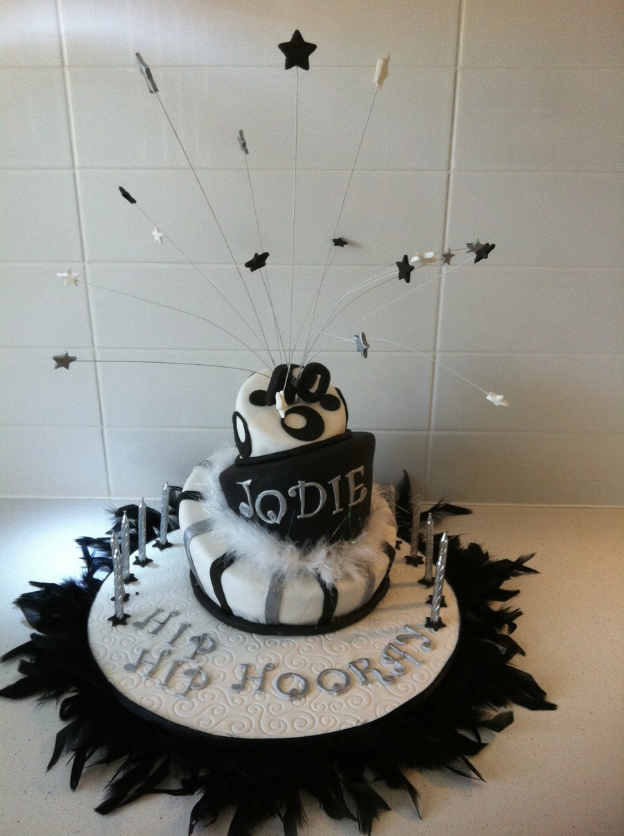 Black And White Topsy Turvy 40th Birthday Cake Cakecentral