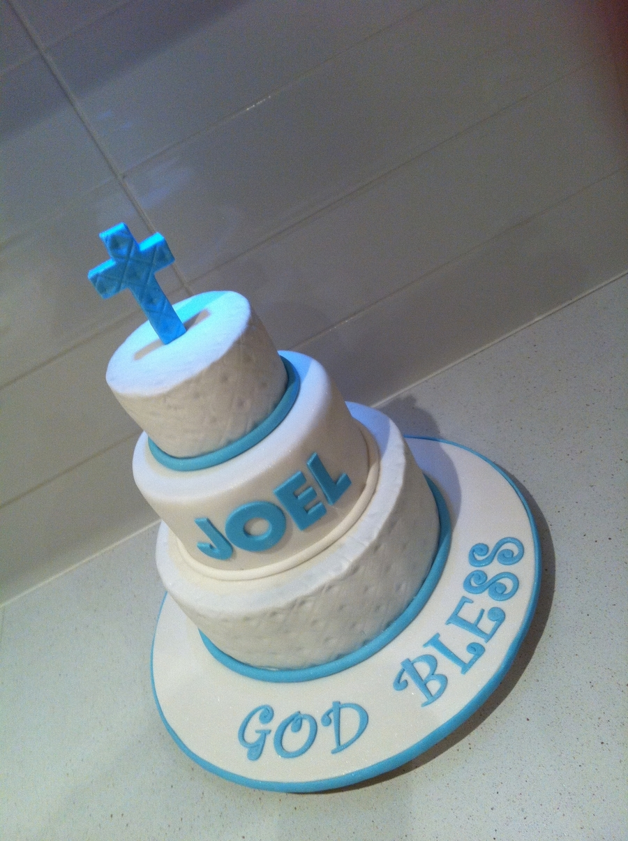 Blue & White Communion Cake on Cake Central