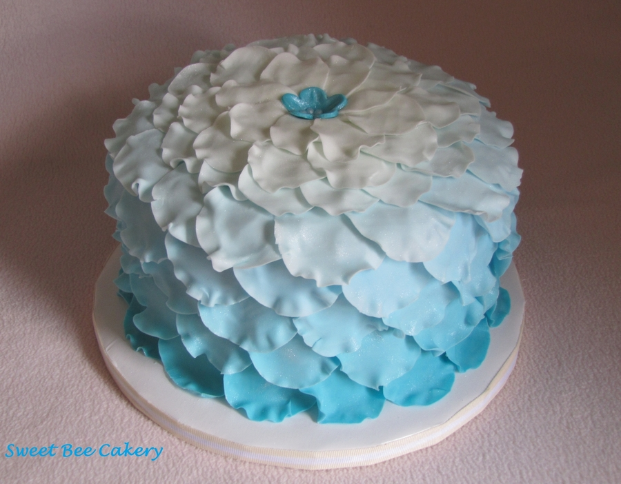 Blue Ombre Petals For Mom on Cake Central