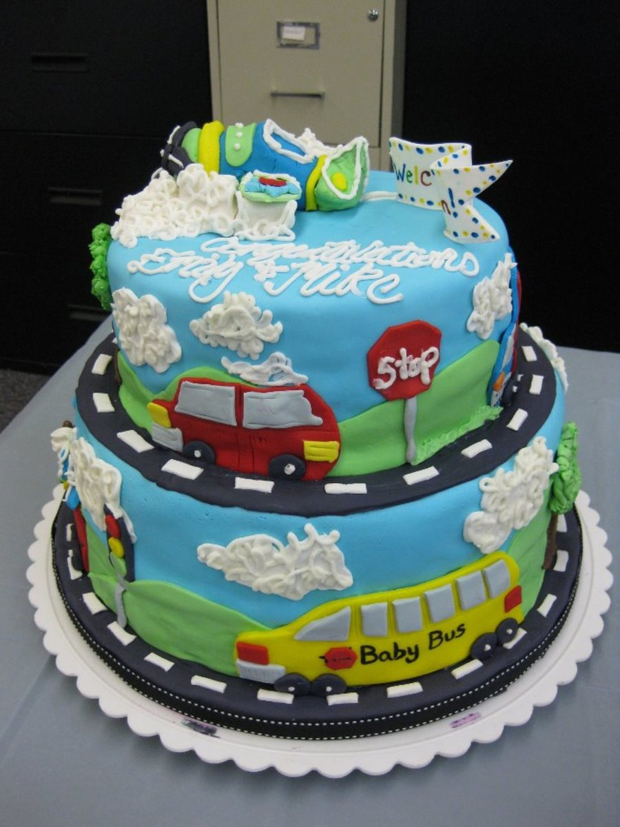 Car Truck Plane Theamed Baby Shower Cake Cakecentral Com