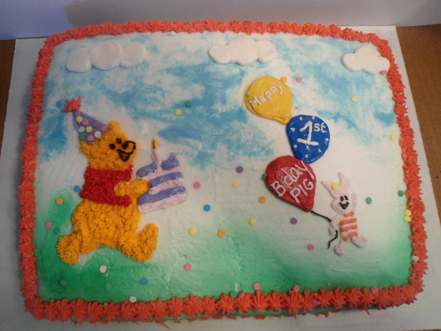 Winnie The Pooh And Piglet Are Running Late To The Party! Run Pooh, Run!! on Cake Central