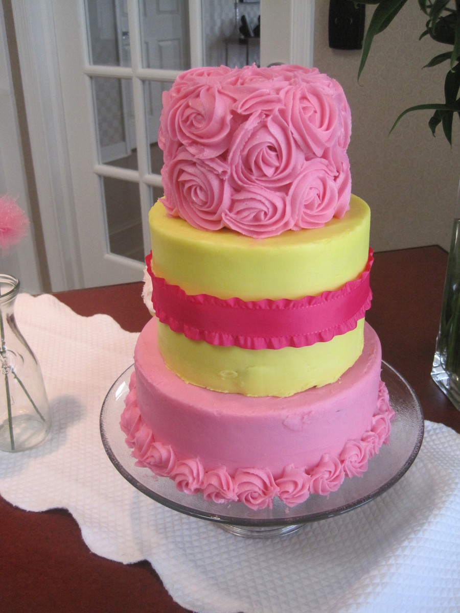 Pink And Yellow on Cake Central