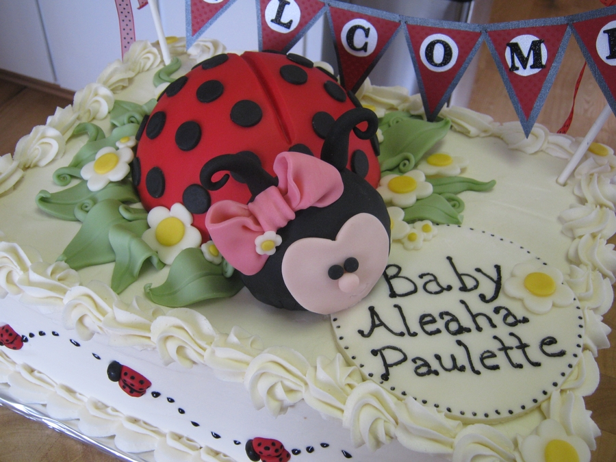 WASC Cake With Raspberry Preserve Filling And Vanilla Buttercream Icing.  Ladybug Is Cereal Treats Covered In Fondant. Baby Shower ...