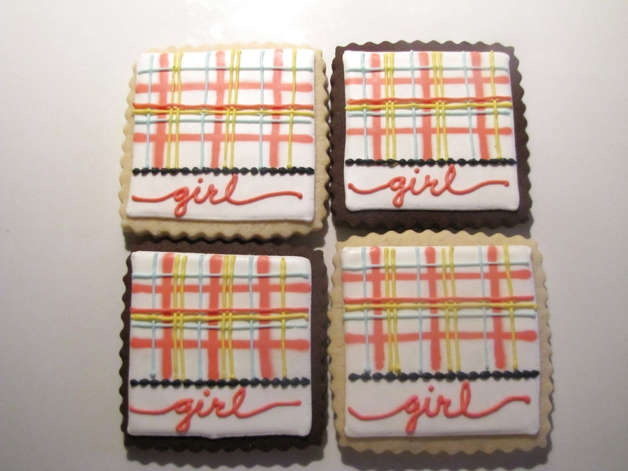 Baby Girl Plaid Squares  on Cake Central