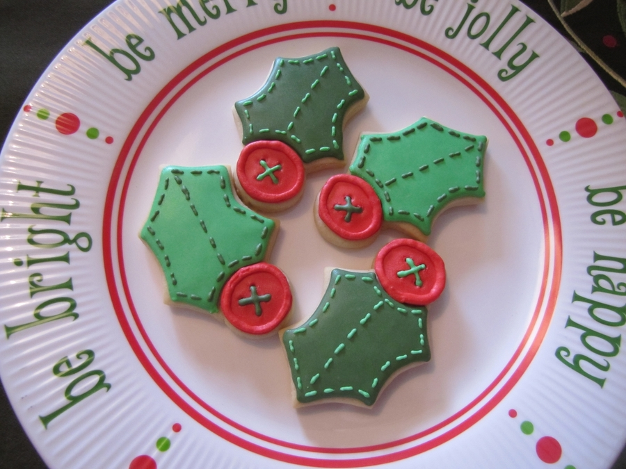 Stitched Holly Leaves on Cake Central