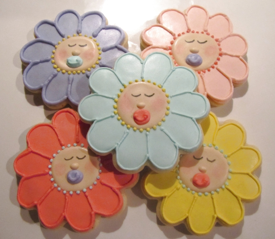Sleeping Baby Flower Faces on Cake Central