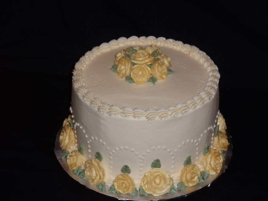 50Th Wedding Anniversary Cake Lemon Cake With Lemon Buttercream Filling And Icing Buttercream Roses Sprayed With Edible Gold Lustre Spra on Cake Central