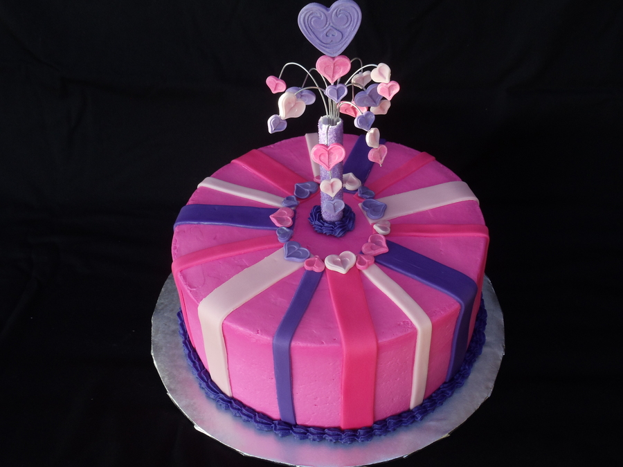 Pink And Purple Cake For A 7 Year Old Little Girls Birthday Velvety
