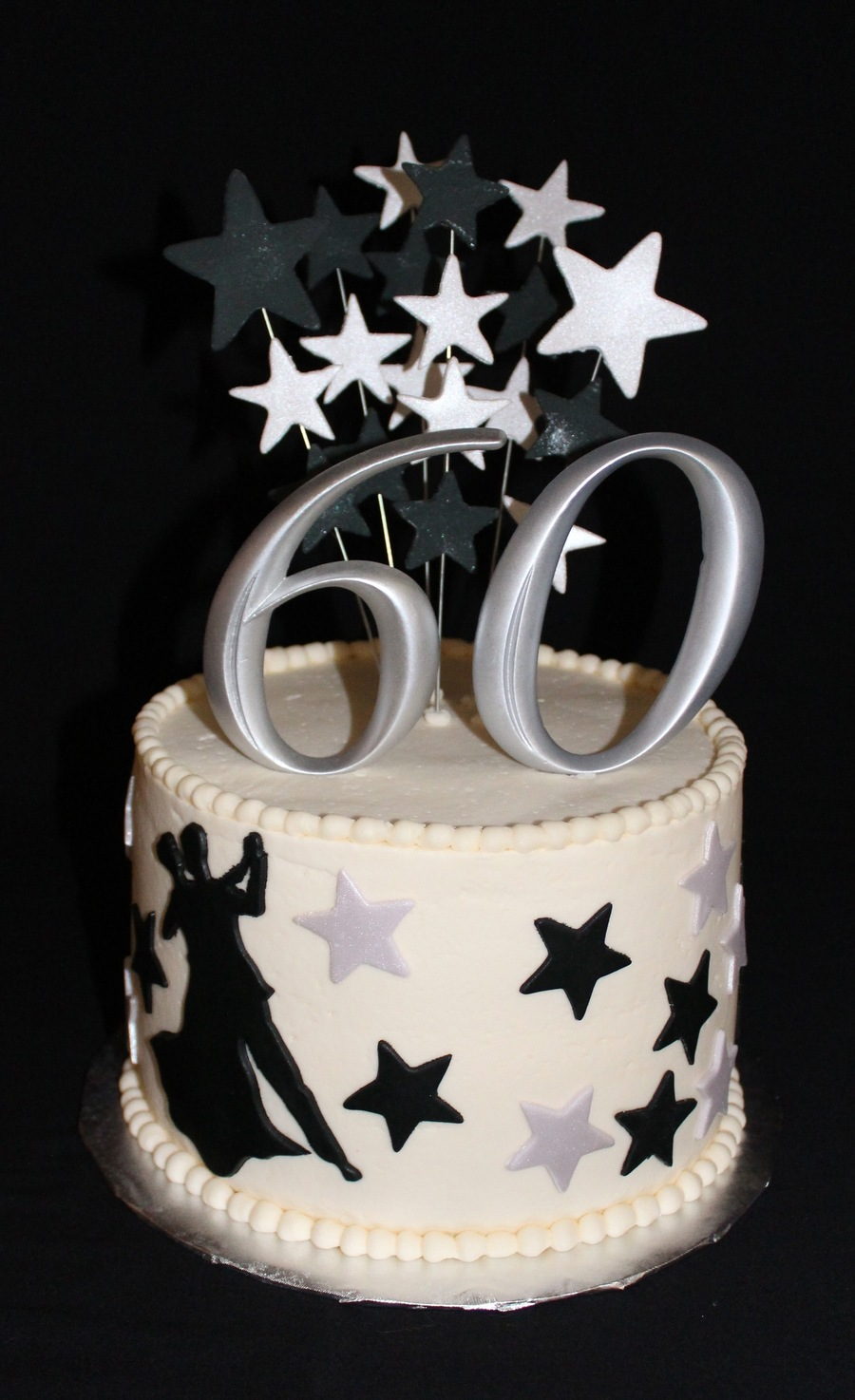 60Th Birthday Cake Lemon Cake With Lemon Curd Filling And Lemon Buttercream Icing Fondant Silhouette And Stars on Cake Central
