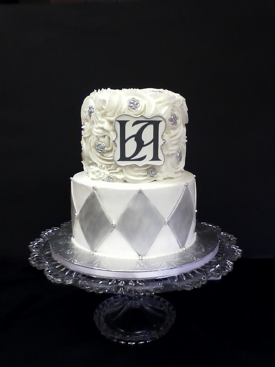 Silver & White Wedding on Cake Central