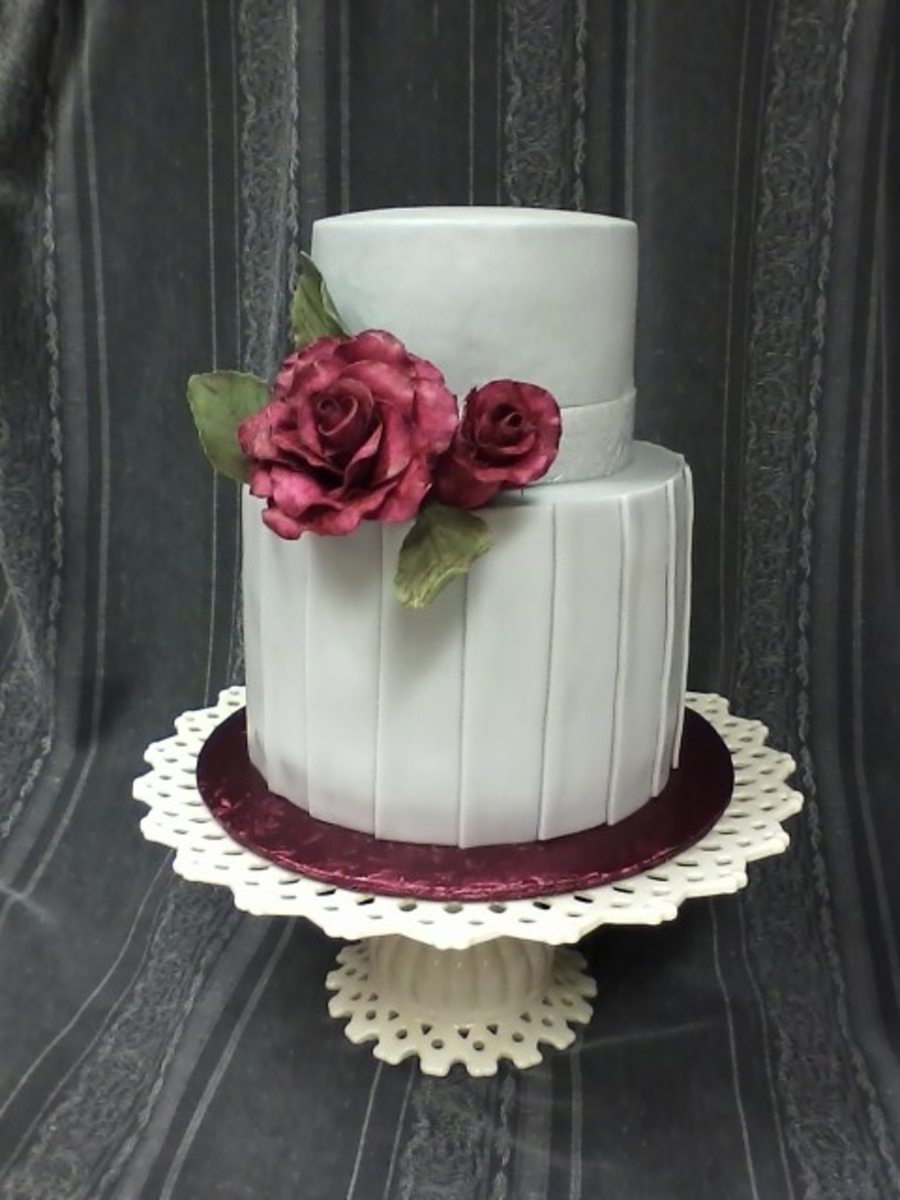Burgundy & Grey on Cake Central