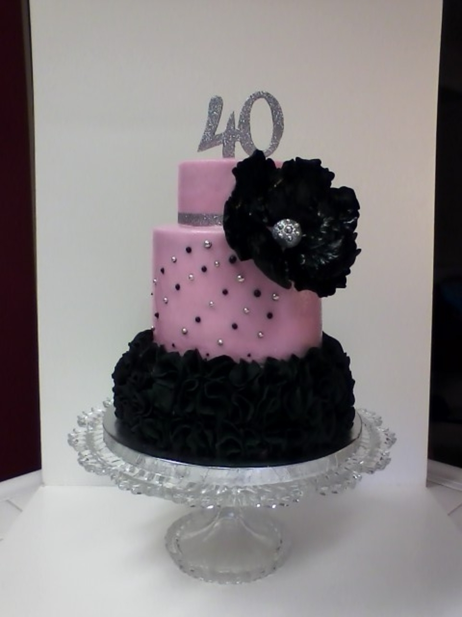 Glam 40th birthday lots of ruffles on the bottom tier you for 40th birthday cake decoration