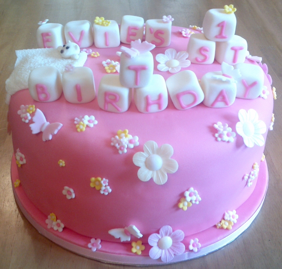 First Birthday Cake Girly And Pink CakeCentralcom