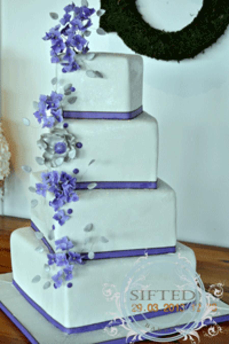 Purple & Silver Wedding Cake - CakeCentral.com