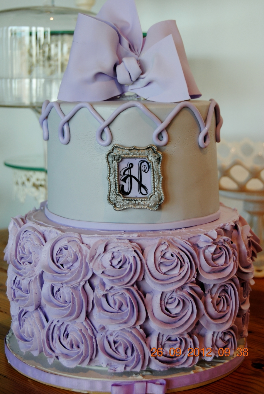 Lavender And Grey Shower Cake on Cake Central