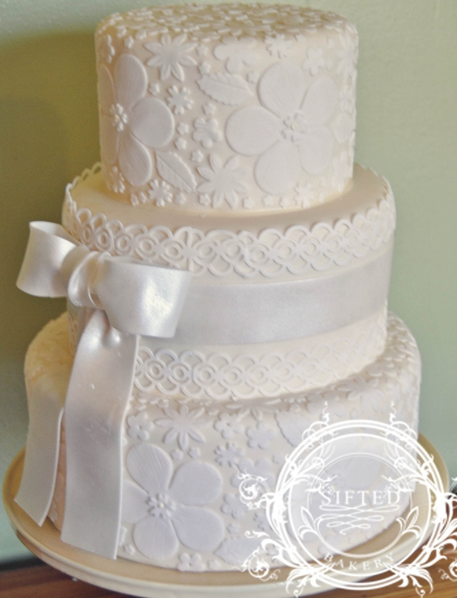 Ivory & White Wedding Cake on Cake Central