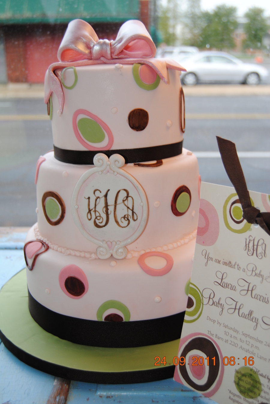Monogram Baby Shower Cake on Cake Central