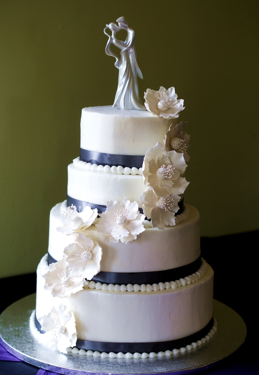 White Anemone Wedding Cake  on Cake Central