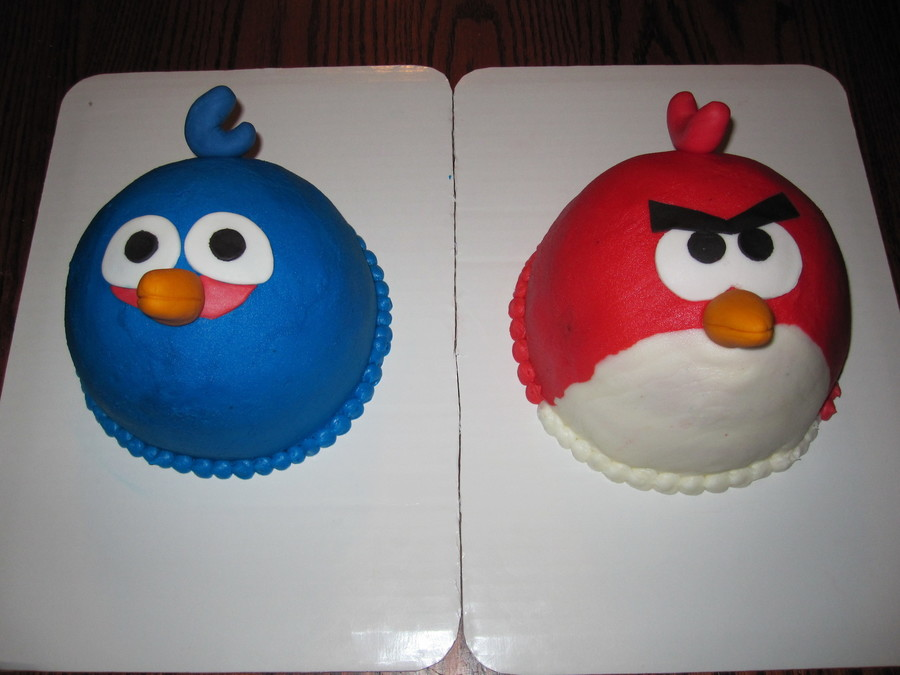 Pair Of Angry Bird Cakes For Twins Both Are A 6 Base With A 12 Ball On Top Covered In Buttercream With Fondant Accents Made A Dozen P on Cake Central