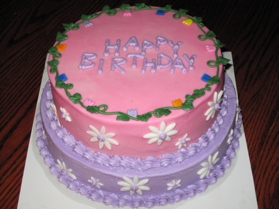 Pink/purple Birthday Cake on Cake Central