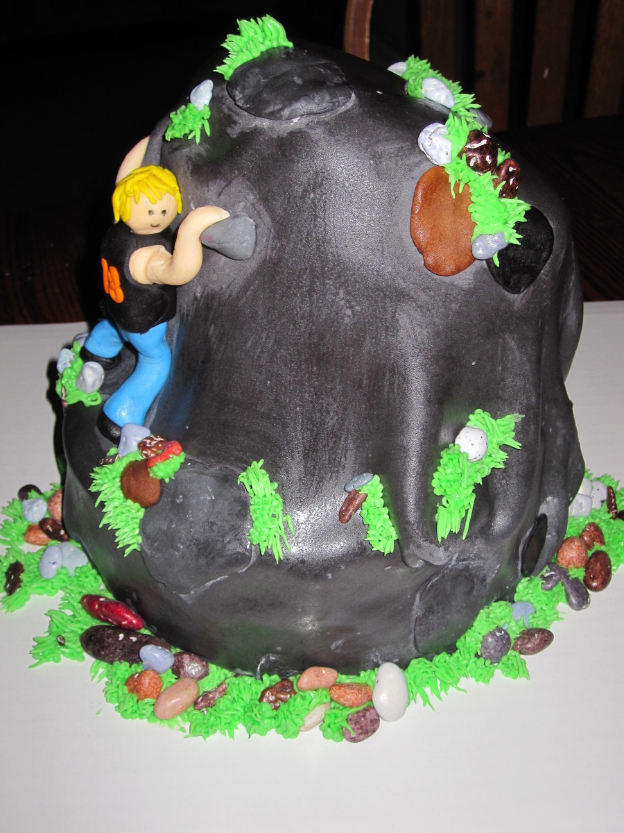 Rock Climbing Cake For 18Th Birthday Is Double Layer 8 With Triple Layer 6 Angled Like A Topsy Turvy And Set Off Center On Bottom Layer on Cake Central