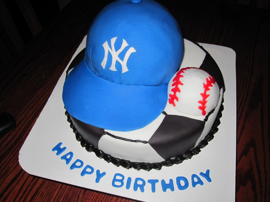 Cake For A Soccer Player Who Loes The Yankees Bottom Is A 10 Round Covered In Buttercream With Black Fondant Accents Hat Is A 6 Round on Cake Central